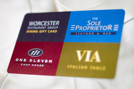 Worcester Restaurant Group offers a dining gift card to its three great restaurants: The Sole Proprietor, VIA Italian Table,  and 111 Chop House.